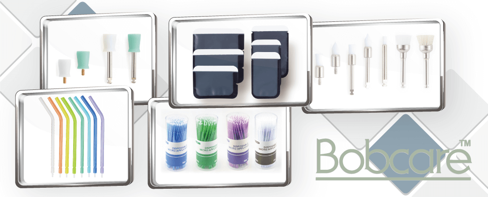 Bobcare dental disposable products include micro applicators, prophy brushes, phophy cups, air water syringe tips and more.